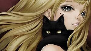 Anime Girl And black cat | happiness | Pinterest | Cats ...