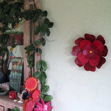 custom handmade upcycled metal hibiscus flower wall art