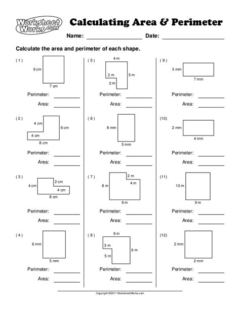 worksheet works calculating area and perimeter answer key