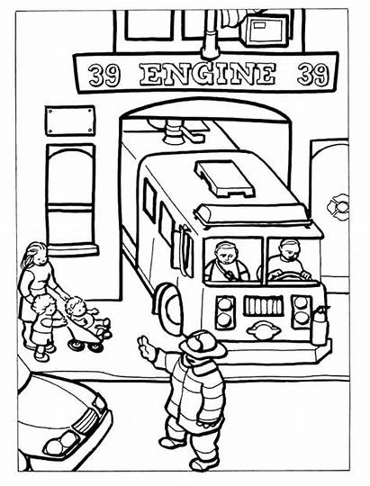 Coloring Fire Pages Station Department Firefighter Dover