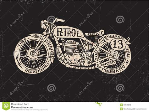 Type Filled Vintage Motorcycle Stock Vector