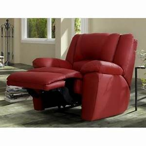 fauteuil relax en cuir aroma rouge achat vente With canapé cuir rouge relax