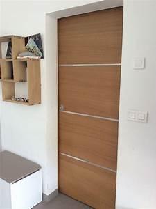 Insert Alu Pour Porte Intérieure : porte int rieure placage bois ch ne avec inserts aluminium ~ Voncanada.com Idées de Décoration