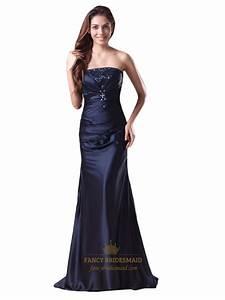 Navy Blue Strapless Beaded Neckline Mermaid Prom Dress ...