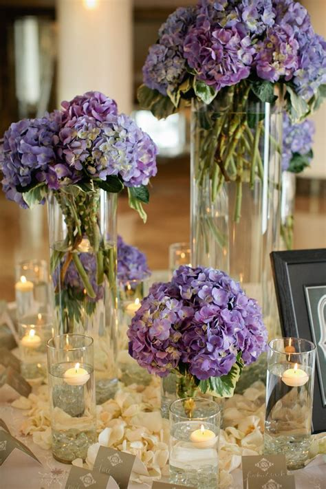 purple flower centerpieces ideas  pinterest