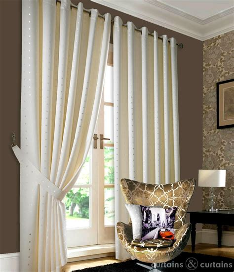 heavy jacquard ivory eyelet ring top lined curtain