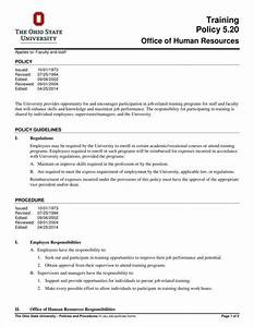 magnificent training policy template elaboration resume With hr sop template