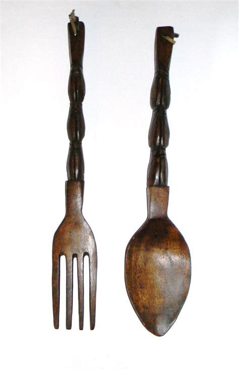 wooden fork and spoon wall hanging vintage kitch wooden fork and spoon 70 s kitchen wall