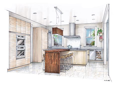 kitchen design sketch sketch drawing of a kitchen with island search 1358
