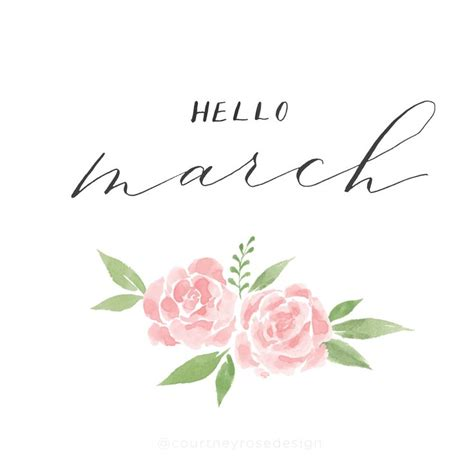 march floral watercolor calligraphy courtney rose