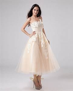 champagne tea length strapless tulle wedding dress with With champagne tea length wedding dress