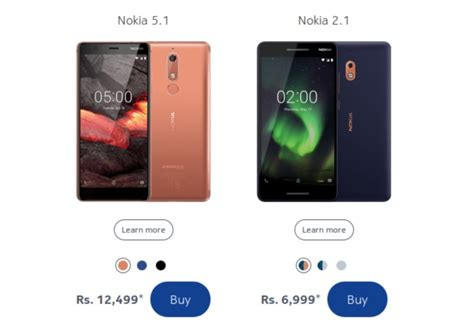nokia 5 1 and nokia 2 1 india prices spotted here s what they ll cost