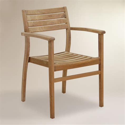 teak stacking armchairs set   world market