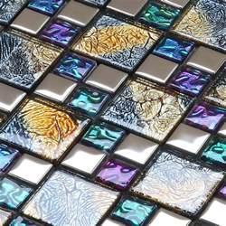 iridescent mosaic tile plated crystal glass backsplash