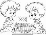 Ajedrez Chess Coloring Colorear Para Dibujo Playing Boys Clipart Printable Sheet Jugando Ninos Dos Games Openclipart Template sketch template