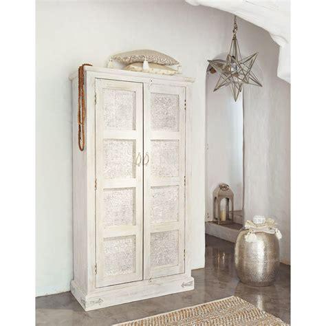 armoire en manguier blanche effet vieilli l 90 cm maison