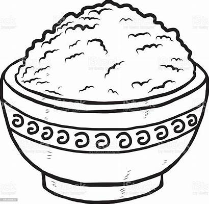 Rice Bowl Clipart Vector Drawing Clip Illustration