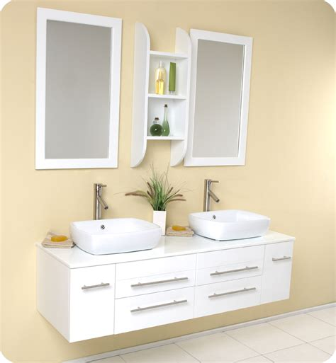 42 Inch White Bathroom Vanity With Top by Fresca Bellezza White Modern Double Vessel Sink Bathroom