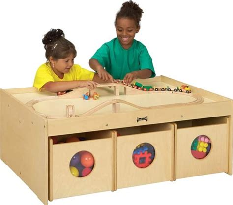 Kids Activity Play Table & Storage For Play Areas-free