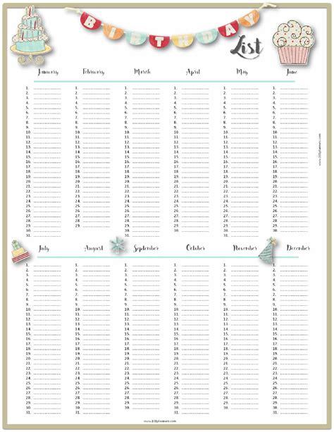 birthday list template free birthday list template customize then print