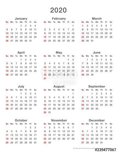 calendar simple sundays format high stock image