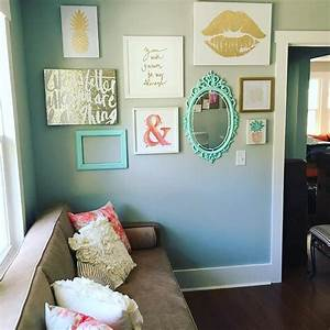 Instagram Gallery Wall In Peach Teal And Gold Glitter