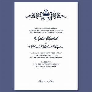 Crown Monogram Wedding Invitation Formal, traditional ...