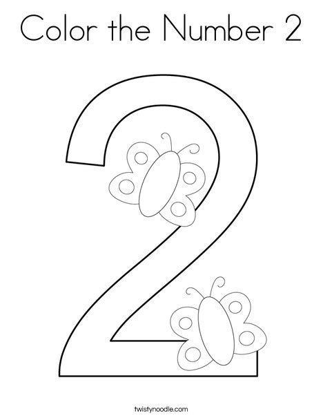 color the number 2 coloring page twisty noodle