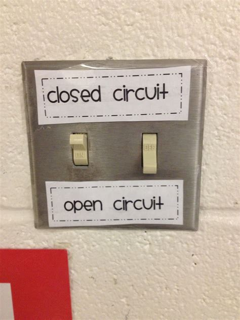 Light Switch Labels For Open Closed Circuits Science