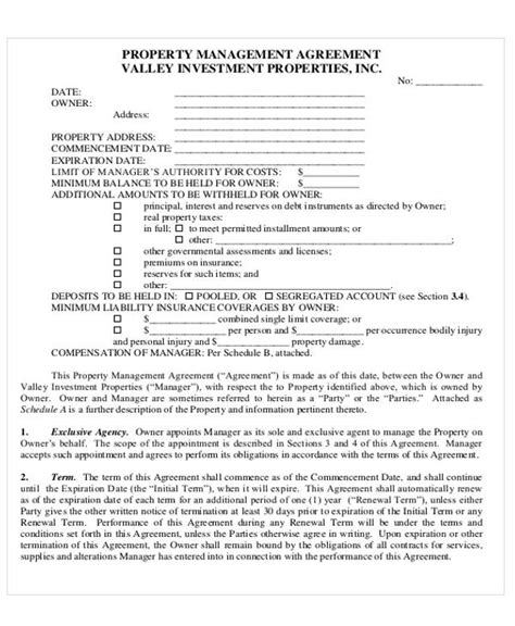 sample commercial property management agreements word