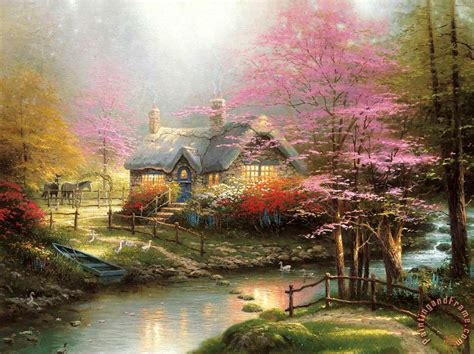 thomas kinkade stepping stone cottage art painting