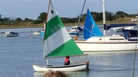 Scow Launching Trolley by Scow Sailing Dinghy In Sandown Wightbay