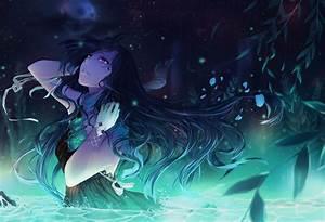 Vocaloid, Alys, Long, Hair, Purple, Eyes, Black, Dress, Ribbon, Flowers, Water, Night, Anime, Girls