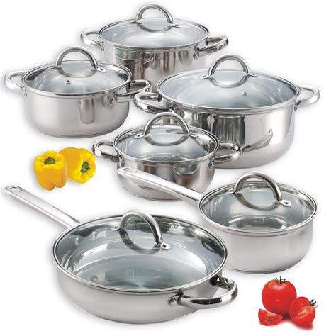 pots cuisine stainless steel cooking set of 4 pots and 2 pans with lids