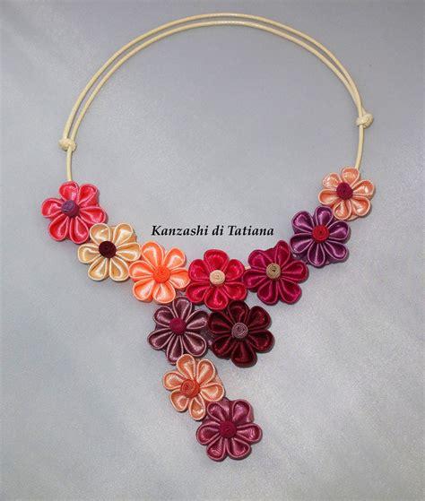 collana di fiori collana kanzashi con fiori diversi colori gioielli