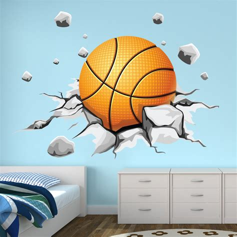 deco chambre basket stickers ballon de basketball pas cher