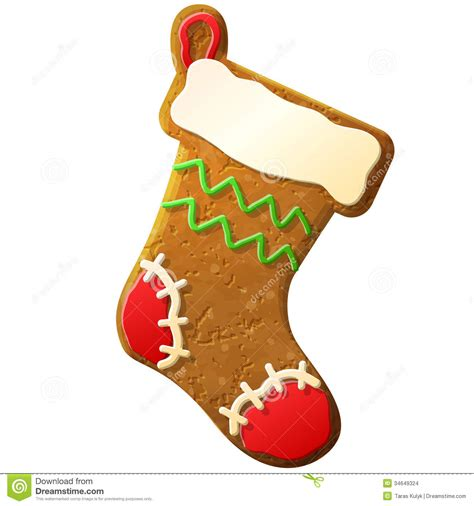 gingerbread christmas stocking decorated colored  stock