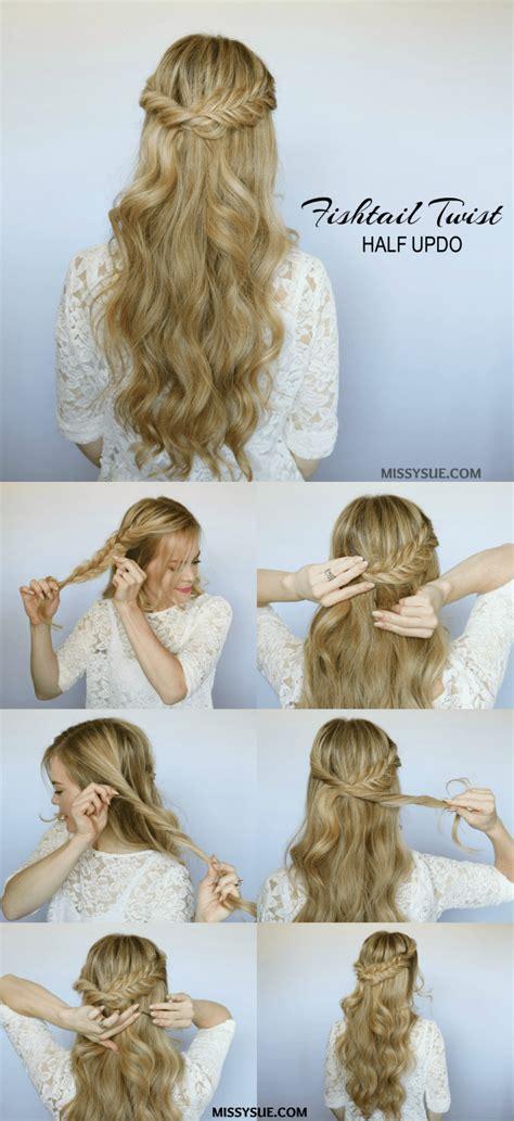 Half Updo Hairstyles Tutorial half up fishtail twist hair tutorials hair hair inspo