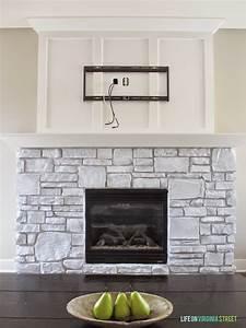 White-washed, Stone, Fireplace