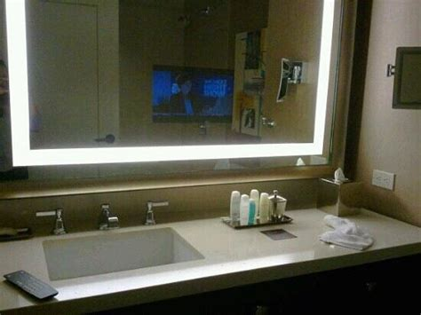 Tv Imbedded In Bathroom Mirror! Impressive Feature