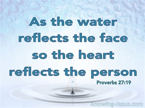 proverbs    water reflects  face aqua