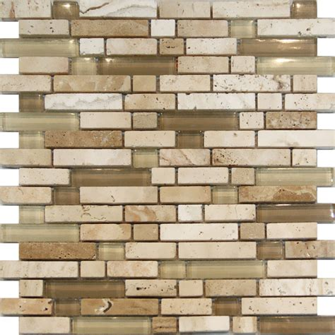 How To Install Glass Mosaic Tile Kitchen Backsplash by 10sf Beige Glass Travertine Linear Mosaic Tile