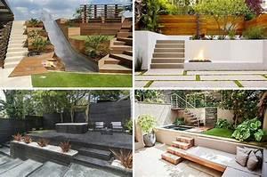 terrasse sur terrain en pente en 10 idees d39amenagement With amenagement exterieur maison terrain en pente 3 emejing idees amenagement jardin exterieur images