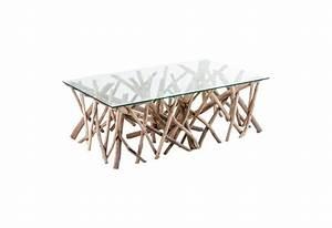 Table Basse Rectangulaire Bois Flott Et Plateau Verre