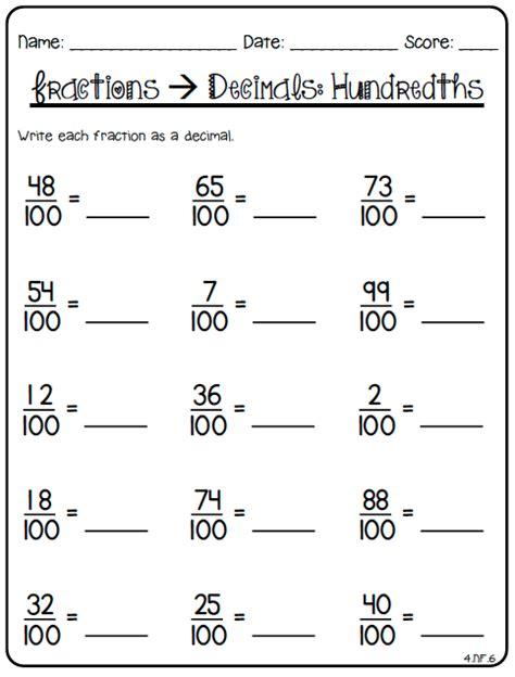 decimal worksheets for 4th grade 80 fraction printables