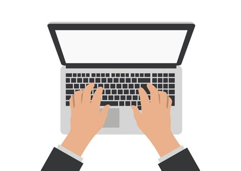 Hands On Laptop Computer Vector
