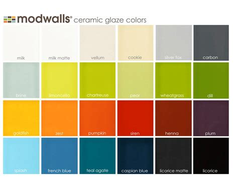Fliesen Bemalen Farbe by Modwalls Ceramic Tile Glaze Color Chart For All Of