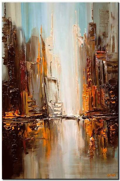 Paintings Painting Cityscape Abstract Fine Oil Downtown