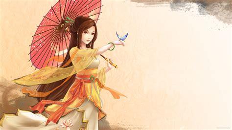 original anime girl kimono butterfly umbrella wallpaper