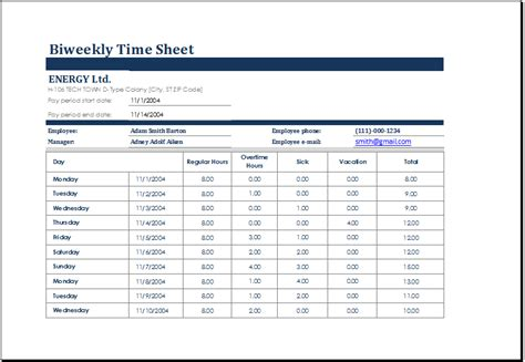 biweekly time sheet  sick leave  vacation excel
